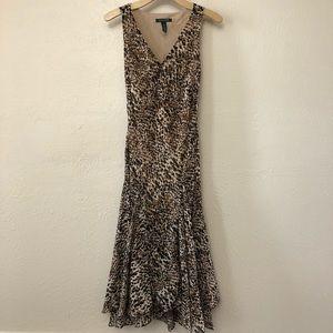 Ralph Lauren V-Neck Animal Print Mermaid Dress S.4